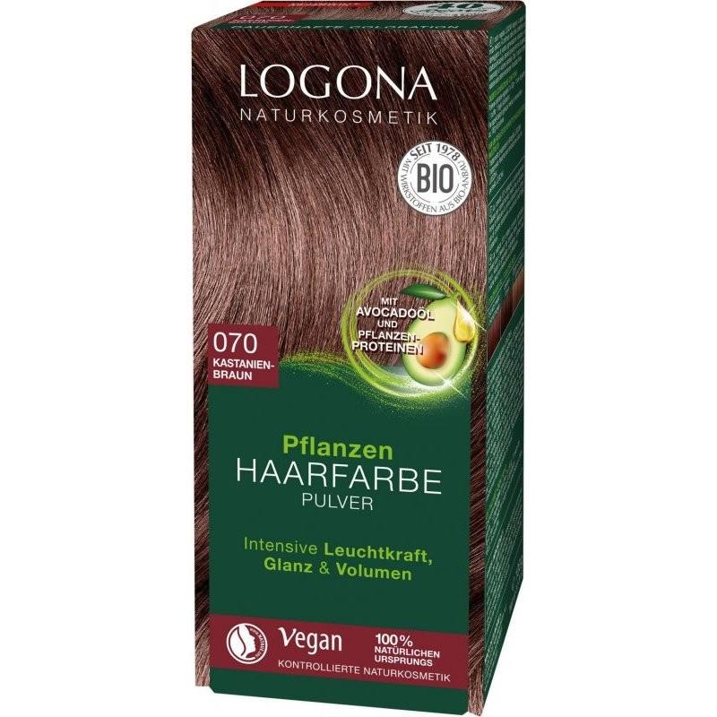 N/A Logona Bio-Pflanzenhaarfärbepulver Kastanienbraun 100 g